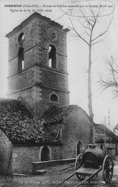 SOMBERNON (Côte-d'Or) - Ruines du clocher incendié par la foudre - Avril 1910