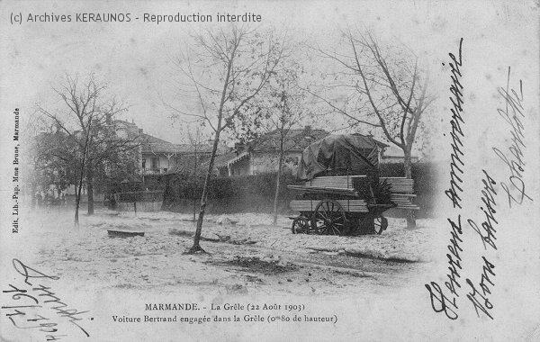 MARMANDE (Lot-et-Garonne) - Une voiture engagée dans la grêle après l'orage du 22 août 1903