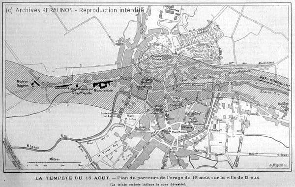 DREUX (Eure-et-Loir) - Plan du parcours de l'orage du 18 août 1890 sur la ville