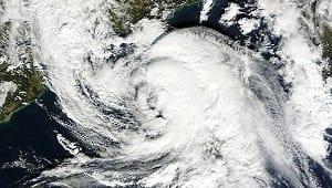 Image satellite canal visible du 8 novembre 2011 (MODIS), montrant la tempête subtropicale en activité entre Baléares et côtes françaises.
